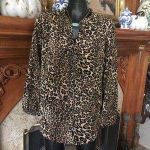 NWT Nordstrom Insight Cheetah Lace-Up Top